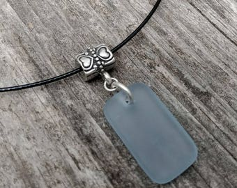 SKY BLUE Recycled Wine Tumbled Glass RECTANGLE on Stainless Cable Neckwire