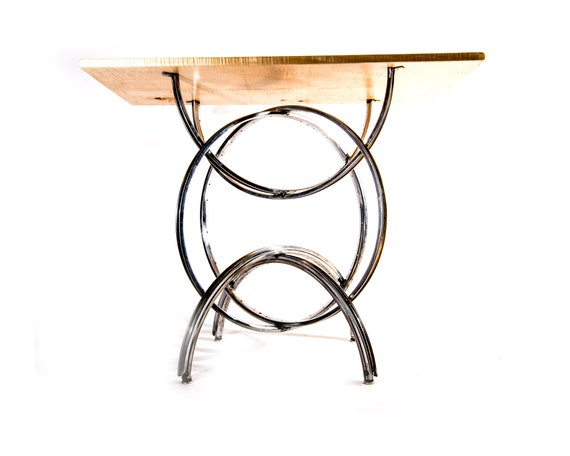 S 2 Bike Wheel Console Table Curly Maple Wood Top Etsy