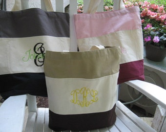 Personalized tricolor tote bag - choice of pink, black, or brown