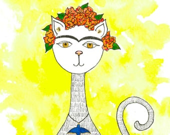 ON SALE! Original 5x7 watercolor and pen artwork of a cat, entitled: Frida Kitty