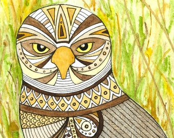 ON SALE! Original 5x7 watercolor and pen artwork of a Burrowing Owl