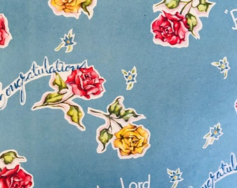 Party FAVORS Wrapping Paper Bells and Flowers Vintage Mid-Century WEDDING theme Gift Wrap 1950s