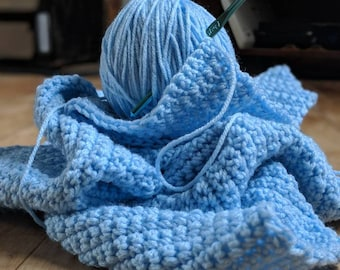 Light blue baby blanket