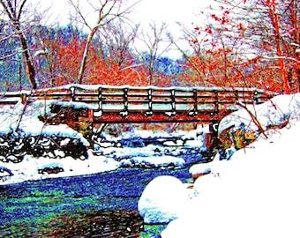 Dreamy Winter Bridge 4x6 Hemlock Creek Cleveland Metroparks Ohio Landscape Photograph Print