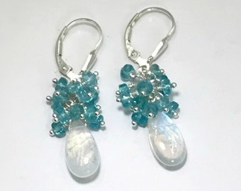 Moonstone Earrings Apatite Cluster Earrings Moonstone Dangle Earrings Moonstone Drop Earrings Bridesmaid Earrings Gift for Wife Gift for Her