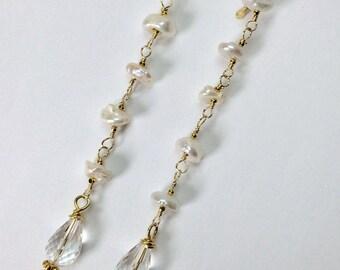Pearl Earrings Crystal Quartz Earrings Dangle Earrings Long Earrings Wedding Earrings Wire Wrapped Gold Earrings Boho Chic Beach Bride Gift