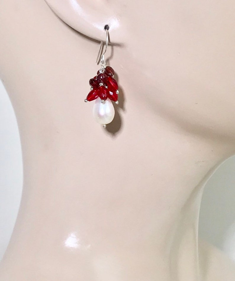 Red Cluster Pearl Earrings Sterling Silver Ivory Pearl Red Garnet Cluster Mothers Day Gift