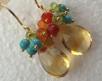 Citrine Carnelian Peridot Handmade Gold Cluster Earrngs