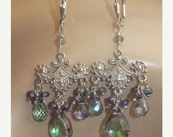 EtsyXO 35 off SALE Mystic Topaz Silver Chandelier Earrings Petite Wire Wrapped
