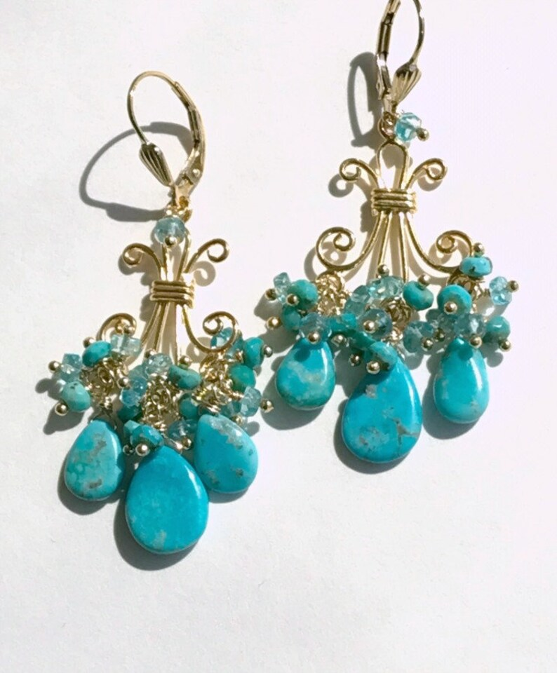 Turquoise Chandelier Earrings Gold Gemstone Chandelier Turquoise Jewelry Statement Earrings Gift for Her December Birthstone Gift for Wife