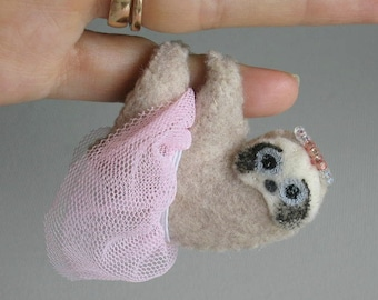 Princess sloth stuffed animal miniature felt plushie with pink dress and crown