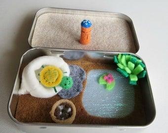 Altoid tin turtle playset, tiny felt stuffed animals