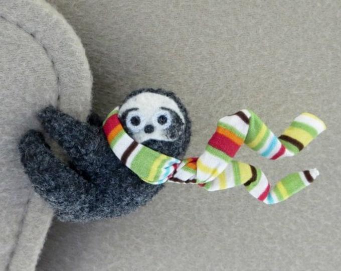 Sloth car visor cling on - stripe sloth stuffed animal plushie - valentine gift for her