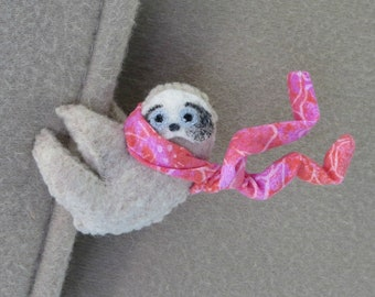 Sloth car visor cling on - pink sloth stuffed animal plushie - valentine gift for her