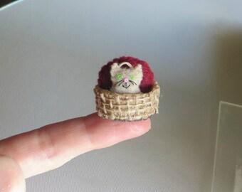 Tiny cat stuffed animal -miniature felt-  handmade plush- playset
