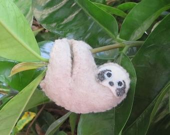 Sloth stuffed animal,  miniature felt, rain forest animal
