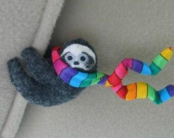 Sloth car visor cling on -rainbow sloth stuffed animal