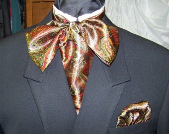 """Ascot or Carvat Greens, Red, Gold, Black Paisley Silky print fabric 4"""" x 57"""" Mens Historial Bow Tie or Wedding, cravat tie"""