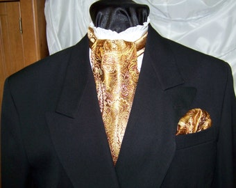 """Ascot and Pocket Square Paisley Gold Metallic Paisley Brocade fabric 4"""" x 56"""" Mens Historial Bow Tie or Wedding, cravat tie"""