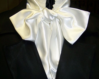 """Ascot or Carvat White Satin fabric 4"""" x 50"""" Mens Historial Bow Tie or Wedding, cravat tie"""