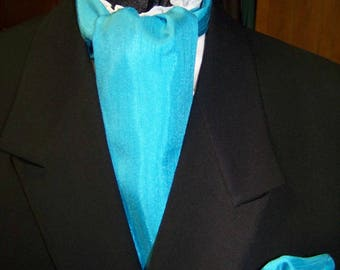 """Ascot or Carvat with pocket square puff Aqua Blue or Teal Matt DuPont Satin with Ridges fabric 4"""" x 56"""" Mens Historial Bow Tie or Necktie"""