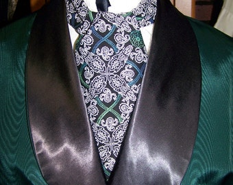 """Ascot White/Black Floral Paisley with touch of Green and Teal cotton print fabric 4"""" x 43"""" Mens Historial Wedding"""
