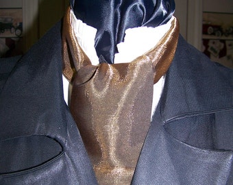 """Ascot or Carvat Gold and Black Lamay Silky fabric 4"""" x 56"""" Mens Historial Bow Tie or Wedding, cravat tie"""