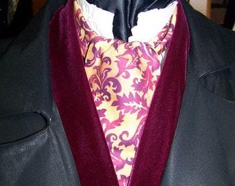 "Ascot or Carvat Burgandy, coral, gold leaf pattern cotton print fabric 4"" x 43"" Mens Historial Wedding, cravat tie"