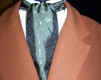 """Ascot or Carvat Olive Green Paisley Silky print fabric 4"""" x 57"""" Mens Historial Bow Tie or Wedding, cravat tie"""