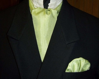 """Ascot or Carvat with pocket square puff Mint Green Matt Satin with Ridges fabric 4"""" x 57"""" Mens Historial Bow Tie or Wedding, cravat tie"""