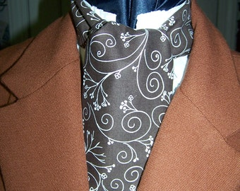 """Ascot or Carvat Brown and White Floral Paisley cotton print fabric 4"""" x 43"""" Mens Historial Wedding, cravat tie"""