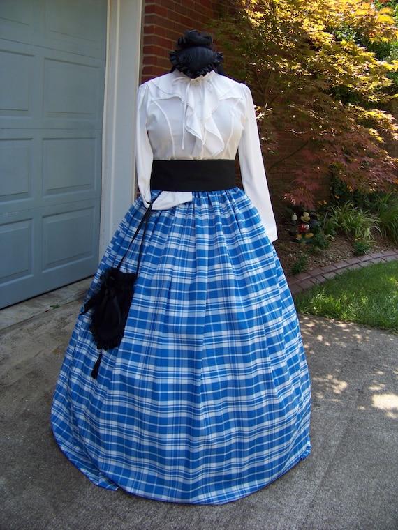 Civil War costume Long drawstring SKIRT sash and cape Child adult Plus sizes Black and white checked Taffeta black or Red Sash Colonial