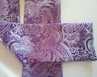 """Ascot or Carvat Purple and Silver metalic Floral Paisley print fabric 4"""" x 57"""" Mens Historial Wedding, cravat tie"""