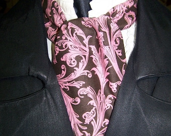 """Ascot or Carvat Brown and Floral Paisley cotton print fabric 4"""" x 42"""" Mens Historial Wedding, cravat tie with pocket square puff to match"""