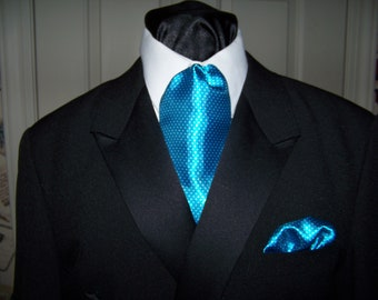 """Ascot or Carvat Teal Aqua Blue Pin Dot satin Silky print fabric 4"""" x 44"""" Mens Historial Tie or Wedding, cravat tie or Pocket Square puff"""