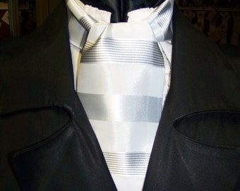 """Ascot or Carvat Lt. Gray Stripe with black pin fabric 4"""" x 44"""" Mens Historial Bow Tie or Wedding, cravat tie"""