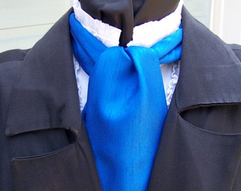 """Ascot or Carvat with pocket square Royal Blue Mat Satin with Ridges fabric 4"""" x 58"""" Mens Historial Bow Tie or Wedding, cravat tie"""