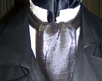 """SALE Ascot or Carvat Silver and Black Lamay Cotton fabric 4"""" x 44"""" Mens Historial Bow Tie or Wedding, cravat tie"""