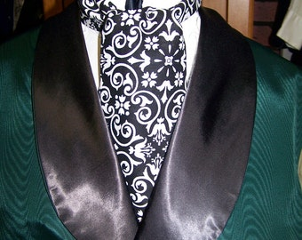 """Black and White Floral Paisley Damask cotton print fabric 4"""" x 42"""" or  52"""" Mens Historial Wedding with Priority mail"""