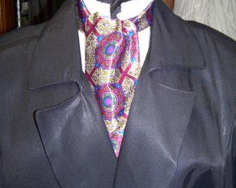 "Ascot or Carvat Purple, Blue, Black, Red and Tan silk polyseter print fabric 4"" x 44"" Mens Historial Wedding, cravat tie SALE"