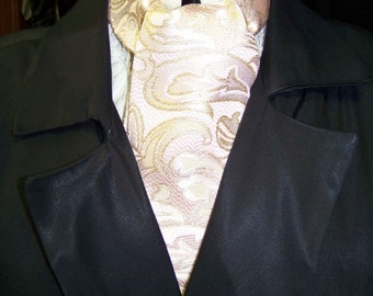 """Ascot or Carvat peachy pink and Gold Metallic Paisley Brocade fabric 4"""" x 56"""" Mens Historial Bow Tie or Wedding, cravat tie"""