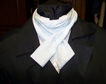 """Ascot or Carvat soft Blue silky fabric 4"""" x 60"""" Mens Historial Bow Tie or Wedding, cravat tie"""