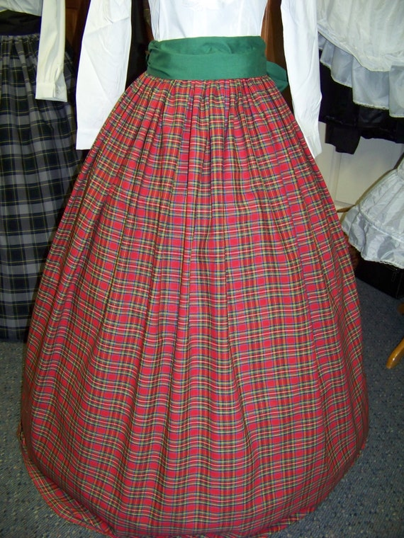 Victorian Skirts | Bustle, Walking, Edwardian Skirts  Dickens Civil War Ladies Long Skirt or Sash or Cape one size fit all Red Black GreenBlue Yellow and white plaid cotton homespun $39.99 AT vintagedancer.com