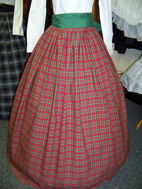 Victorian Skirts | Bustle, Walking, Edwardian Skirts  Dickens Civil War Ladies Long Skirt or Sash or Cape one size fit all Red Black GreenBlue Yellow and white plaid cotton homespun $51.99 AT vintagedancer.com