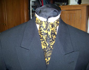 "Ascot or Carvat Black with Gold Floral Paisley cotton print fabric 4"" x 43"" Mens Historial Wedding, cravat tie"