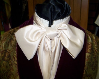 "SALE Ascot or Carvet  Champagne Mat finish taffeta  fabric 4"" x 57"" Mens Historial Wedding, cravat tie"