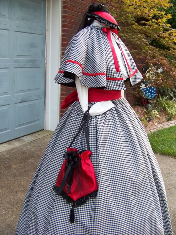 Victorian Dresses, Clothing: Patterns, Costumes, Custom Dresses Civil War Victorian costume Long drawstring SKIRT one size fits all Black and white checked Taffeta black or Red Sash Handmade $119.99 AT vintagedancer.com