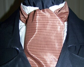 """Ascot or Carvat Brown stripe silky fabric 4"""" x 50"""" Mens Historial Bow Tie"""