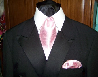 """Ascot or Carvat Pink Pin Dot satin Silky print fabric 4"""" x 44"""" Mens Historial Tie or Wedding, cravat tie or Pocket Square puff"""