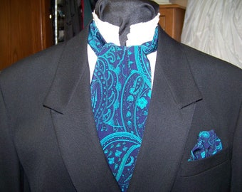 """Ascot or Cravat 4"""" x 57"""" Mens Historial Tie and Pocket Square Teal Paisley with Black and Blue  for Weddings, cravat tie"""